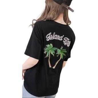 Heaven Days(ヘブンデイズ) Tシャツ 半袖 カットソー クルーネック ロゴ 刺繍 レディース 1804C0672
