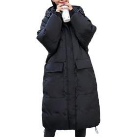 Gergeousレディース ダウンコート フード付き 中綿コート 冬 ロングコート 綿入れジャケット 冬服 防寒服ひざ丈 アウター(R黒)