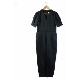 【中古】ロペ ROPE オールインワン パンツ ロング 半袖 黒 ブラック 38 /DE10 レディース