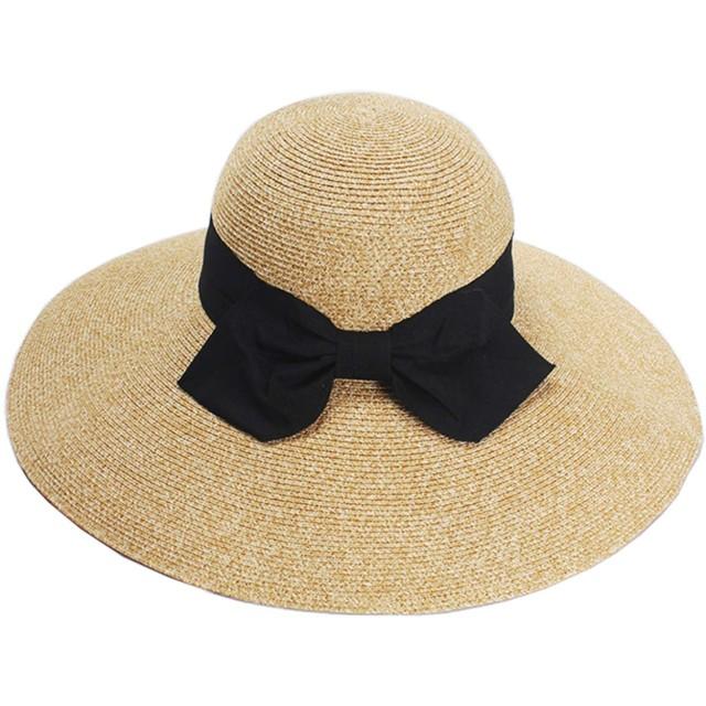Caissipレディース 帽子 ハット つば広 リボン付き 麦わら 紫外線対策 UVカット 折りたたみ可能 携帯便利 紫外線対策 UVカット