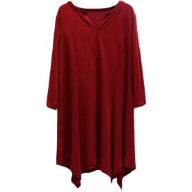 VITryst 女性の長い袖のvネックプラスサイズの無地のシンプルシャツ Wine Red 4XL