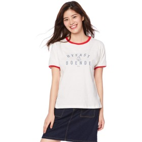 (プードゥドゥ) POU DOU DOU ロゴ プリント リンガー Tシャツ 1911141748 3 オフホワイト レディース 半袖 トップス プルオーバー 白