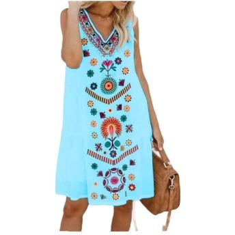 Kankanluck 女性クラシックルーズ民族スタイルコンフォートラウンジTシャツドレス Sky Blue 2XL
