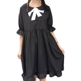 BeiBang(バイバン) レディース ワンピース 半袖 フリル裾 ゆったり ショートワンピース 無地 可愛い ワンピース セーラー風 おしゃれ ワンピース 黒ワンピース(黒)