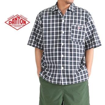 DANTON ダントン チェックシャツ ワークシャツ JD-3609 PPL 半袖シャツ メンズ
