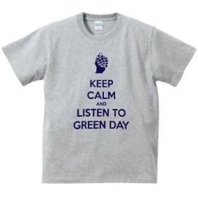 【ノーブランド品】 音楽 バンド ロック KEEP CALM AND LISTEN TO GREEN DAY Tシャツ グレー MLサイズ (M)