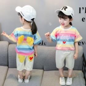 セットアップ 半袖Tシャツ 7分丈ズボン 2點セット 女の子 ベビー 上下セット 虹色 ストライプ柄 子供服 キッズ 綿  80