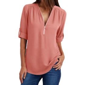 Atree 女性のシフォントップブラウスネックロングスリーブプラスサイズのゆったりしたシャツ As picture S