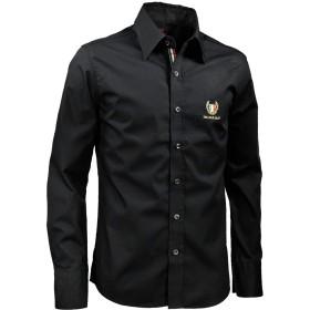 シャツ レギュラーカラー 無地 イタリアンカラーテープ 紋章 ワンポイント 長袖シャツ ブラック黒 925809 L