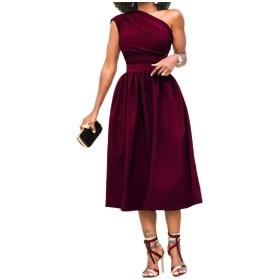 AngelSpace 女性の斜めショルダーセクシーソリッドサイズのミディドレス Wine Red 2XL