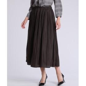 CLEAR IMPRESSION プリーツロングスカート ひざ丈スカート,ブラウン