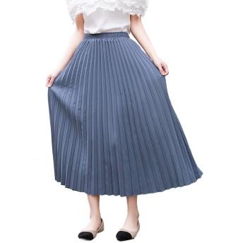 KASUNA フレアスカート レディース プリーツスカート マキシスカート 旅行 Aライン 無地 スカート マキシ ロングスカート スカート ファッション トレンド 普通着 体型カバー 着痩せ フレア ウェストゴム 春夏 90cm blue