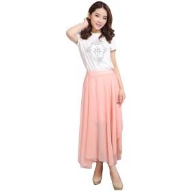 お嬢様 ! セクシー ブリーツ ロング スカート レディース シフォン katsuma6912 (ピンク)