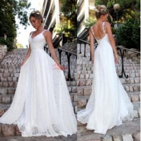 レディース レースワンピース ウェディングドレス 結婚式 花嫁 Vネック パーティードレス ベアトップ イブニングドレス セクシー キャミ