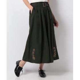 アクシーズファム ベルト付き裾刺繍ワイドパンツ レディース カーキ M 【axes femme】