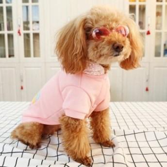 小型犬 ペット服 ドッグウェア 犬服 アイスクリームワッペン パーカー ピンク 普段着 散歩 ドッグラン 春夏 送料無料