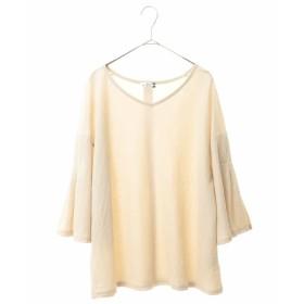 eur3 【大きいサイズ】バックボタンプルオーバー Tシャツ・カットソー,ライトグレー