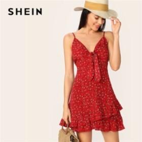 [特別TOPS×送料無料]ノースリーブ フリル袖 赤色 夏ドレス 花柄 肩だし 半袖 夏 ビーチ カジュアル 赤