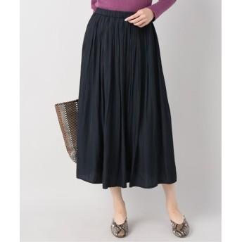 B.C STOCK パウダーサテンギャザースカート◆ ネイビー フリー