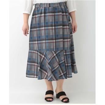 eur3 【大きいサイズ】チェックマーメイドスカート ロング・マキシ丈スカート,ネイビー