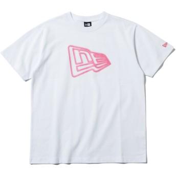 NEW ERA ニューエラ コットン Tシャツ ネオン フラッグロゴ ホワイト × ネオンピンク 半袖 ウェア メンズ レディース Large 12108185 NEWERA