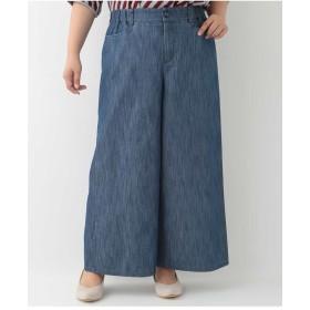 eur3 【大きいサイズ】シャンブレーワイドパンツ その他 パンツ,ネイビー