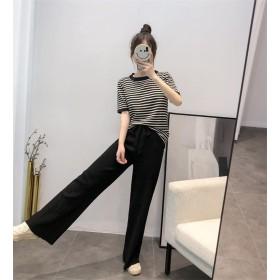 [55555SHOP] 高品質で 新しいデザイン 2019新しい、サマードレス、小さい新鮮な、セット、韓国風、ニット+ハイウエスト、ワイドレッグパンツ、2点セット