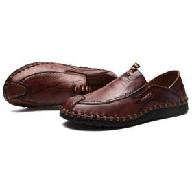 [CHIIKA] デッキシューズ メンズ ドライビングシューズ 革靴 柔軟 サイドゴア つま先保護 滑り止め 通気 防臭 軽量 履きやすい デイリー 通勤用 散歩 運転靴 ウォーキングシューズ カジュアルシューズ ブラウン