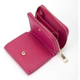 三つ折り財布 の 小さい 財布 三つ折り|メンズ レディース|コンパクト|小銭入れ コイン ラウンドファスナー [ターニング] (ピンク)