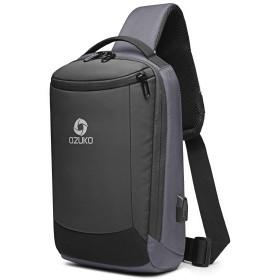 Leape(リーパー) ボディバッグ ショルダーバッグ 斜めがけ メンズ USB充電ポート搭載 撥水 大容量 a4 グレー