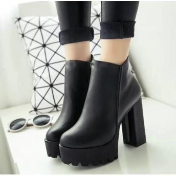 /美脚効果の人気ブーティー 靴 ブーティー ブーツ ショートブーツ サイドゴア 厚底 厚底ブーツ チャンキーヒール レディース