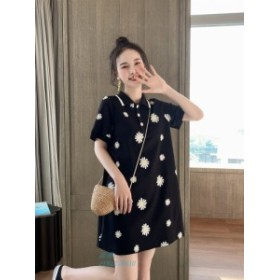 2019 春夏2色 ★最強 ルース 着やせ ファッション ワンピース 何でも似合う 襟
