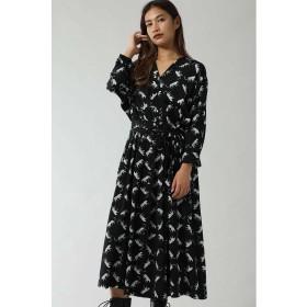 【10%OFF】 ローズバッド LEOPARD PRINT OPEN COLLAR DRESS レディース ブラック 【ROSE BUD】 【タイムセール開催中】