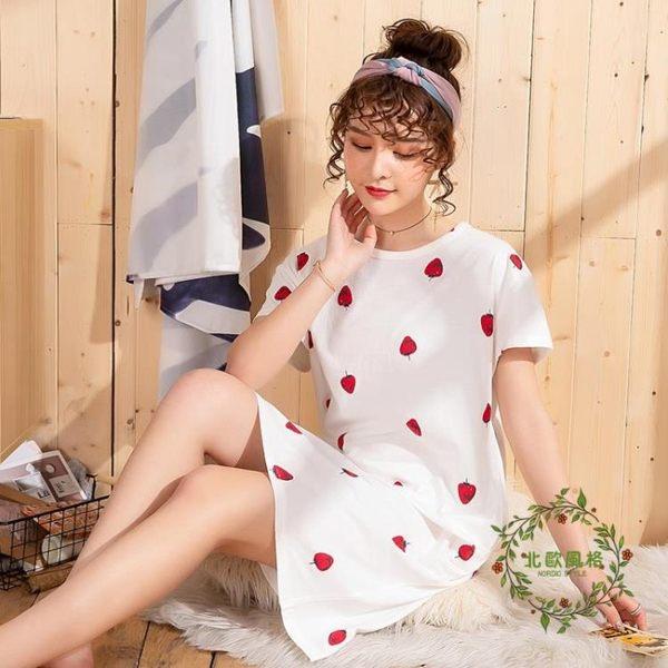 睡裙女春秋棉質薄款大尺碼長款100%全棉長款可愛短袖睡衣夏季可外穿