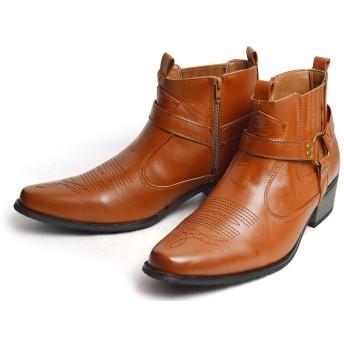 [トラッカーズ] ウエスタンブーツ メンズ ブーツ エンジニア サイドゴア リング ヒールアップ サイドジッパー 脚長 美脚 紳士靴 メンズシューズ Brown ブラウン 27cm(27.5cm相当)