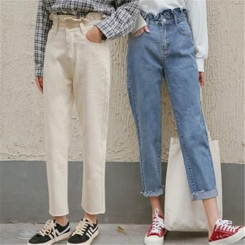 ★新製品の入荷★ ゆったりハ/パンツ/ハイウエストストレート ナインポイントジーンズ