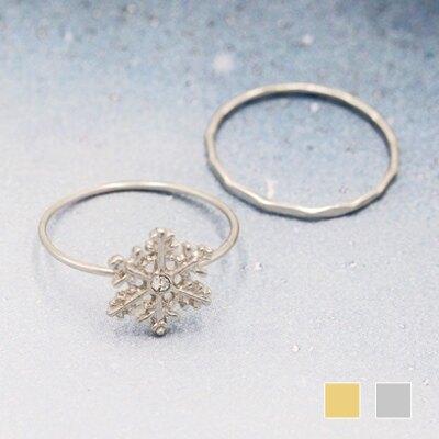 〔APM飾品〕日本Kaza 銀白耶誕冰晶雪花戒指組 (金色系) (銀色系)