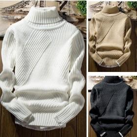メンズトップス メンズニット、セーター タートルネック ハイネック ケーブル編み リブ編み 無地 長袖ニット カップル インスタ大人気 オーバーサイズ-P119