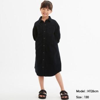 (GU)GIRLSコーデュロイシャツワンピース(長袖) NAVY 120cm