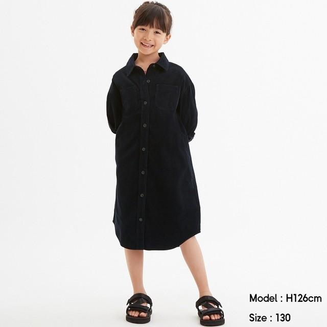 (GU)GIRLSコーデュロイシャツワンピース(長袖) NAVY 120