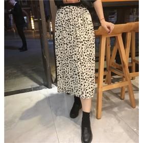 [55555SHOP] とってもカワイイ夏にピッタリな スカートが登場! 夏 新しいデザイン レディース シフォンスカート レトロ 夏日美品 ヒョウ柄 スカート