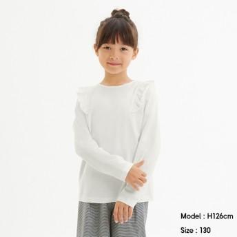 (GU)GIRLSフリルT(長袖) OFF WHITE 140