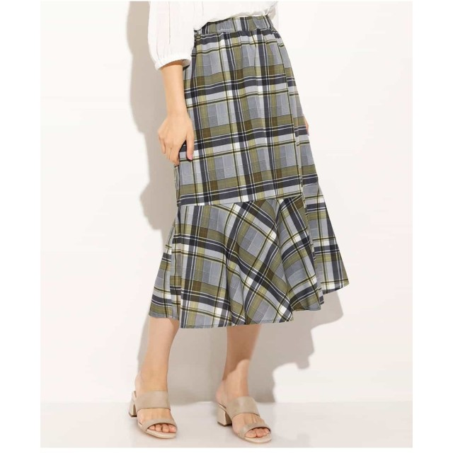 eur3 【大きいサイズ】チェックマーメイドスカート ロング・マキシ丈スカート,ブラウン