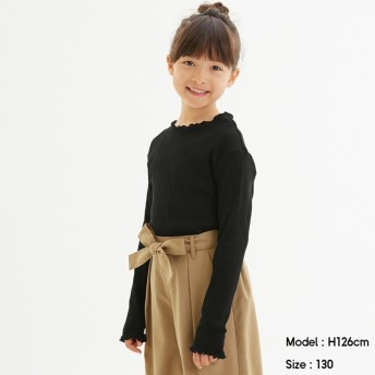 (GU)GIRLSリブT(長袖) BLACK 160