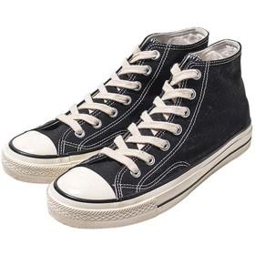 [JUIN] レディース キャンバス レースアップ ハイカット シューズ デッキシューズ 無地 26.0cm ジュアル スニーカー 軽量 フラットシューズ 作業靴 通勤 事務所 スポーティー ブラック 靴 歩きやすい 合わせやすい ファション 若い者