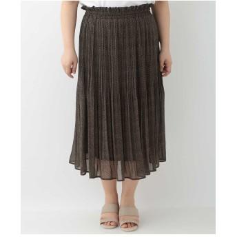 eur3 【大きいサイズ】アニマルプリントシフォンスカート その他 スカート,ベージュ