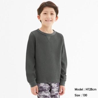 (GU)KIDS(男女兼用)ワッフルクルーネックT(長袖) DARK GRAY 120