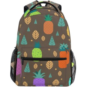 カラフルなパイナップル リュックサック 可愛い おしゃれ 大容量 リュック 軽量 通学 旅行バッグパック 男女兼用 防水