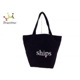 シップス SHIPS トートバッグ 黒×白 キャンバス  値下げ 20191112