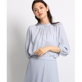 インディヴィ ◆[S]スロープギャザーネックシャツ レディース グレー(012) 05(S/ショート) 【INDIVI】